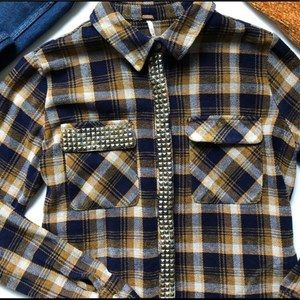 Free People Erin's Studded Plaid Button Up Shirt